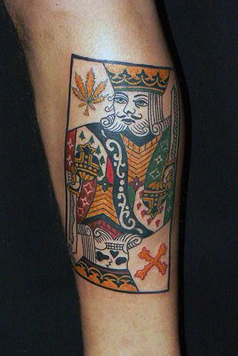 トランプ カード キング ドクロ 足/tattoo.タトゥー.刺青