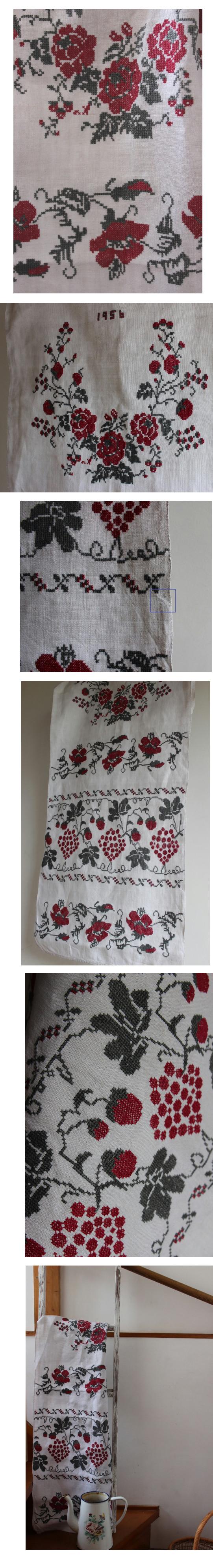 ウクライナバラ刺繍リネン