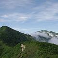 小朝日岳、大朝日岳が見えた