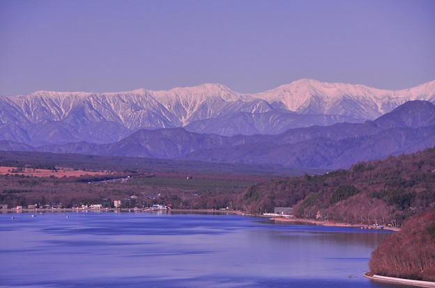 パノラマ展望台から見える南アルプスと山中湖