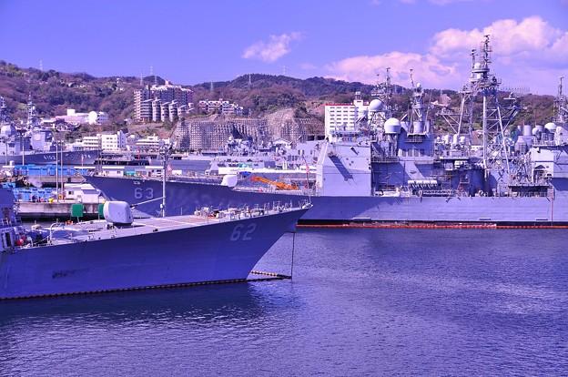 空母甲板から見る艦船達。。