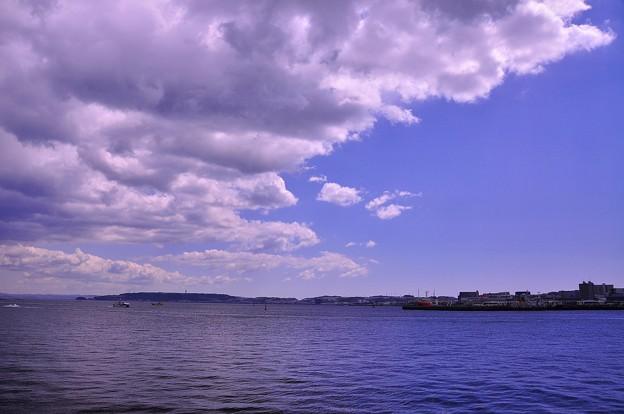 横須賀基地内から見た横須賀港の海と空
